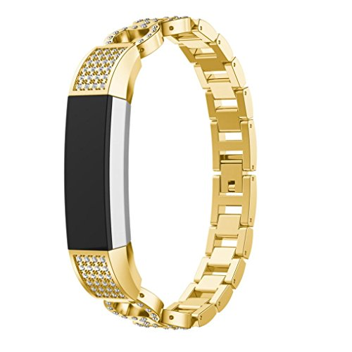 Ladies Allies Watch (HP95(TM) For Fitbit Alta Accessories, Women Luxury Alloy Crystal Watch Strap For Fitbit Alta HR/Fitbit Alta (Gold))