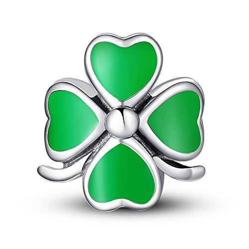 Glamulet Art Women's 925 Sterling Silver Four Leaf Heart Clover Bead Charm Fits Pandora Bracelet (Twin Fit Dress Form compare prices)