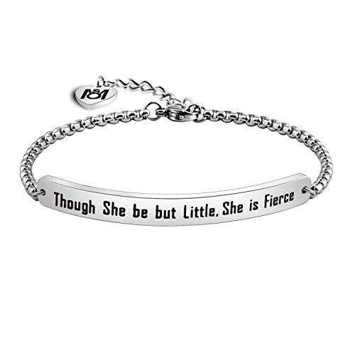 MYOSPARK Though She be but Little She is Fierce Bracelet Inspirational ID Bracelet Gift for Her (Sliver Bracelet)
