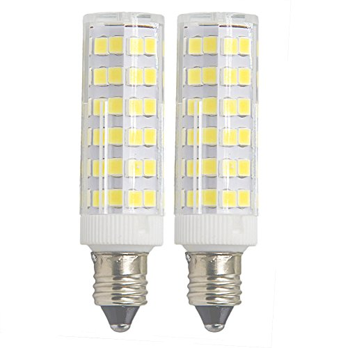 Ashialight E11 Base 50W Light Bulb, LED Mini Candelabra Bulb,Daylight,JD T4 bulb,120 volt,550LM,Clear Light Bulb (Pack of 2)