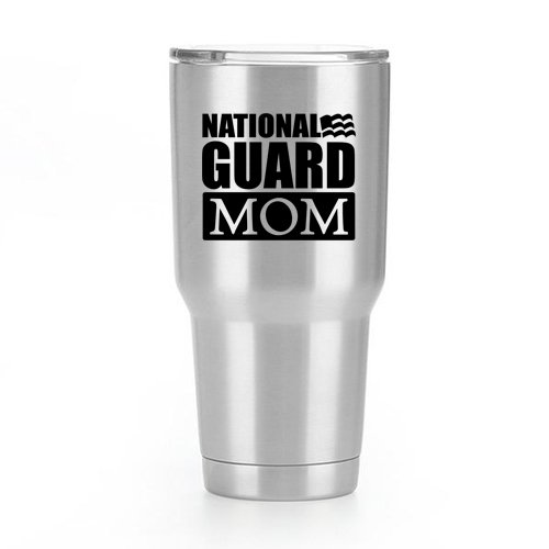 (National Guard Mom Flag Vinyl Decal Sticker ( 2 Pack!!! ) | Yeti Tumbler Cup Ozark Trail RTIC Orca | Decals Only! Cup not Included! | Black | 2 - 3.5 X 2.9 inch | KCD1798 )