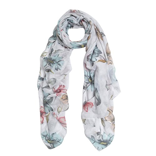 stic Floral Print Fashion Scarf Wrap, Off White (White Floral Scarf)