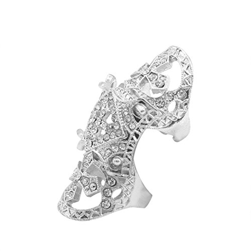 WYTong Unisex Punk Corselet Shape Rhinestone Joint Knuckle Ring Hip Hop Jewelry for Men Women (Silver)