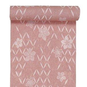踊り衣裳 反物 絞印 綿麻手しぼ浴衣 着尺 ピンク レディース