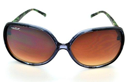 Vertx tendance classique haute qualité pour femme Mode Hot Lunettes de soleil W/étui microfibre gratuit Clear/Black/Gold Tortoise Green Camo Frame - Brown Lens