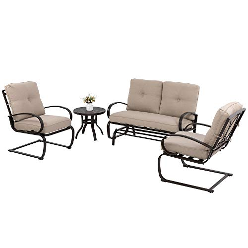 JY QAQA 4Pcs Outdoor Patio Furniture Conversation Sets(Glider Loveseat,Coffee Table,2 Spring Chairs),Wrought Iron Frame Chair Set with Cushions for Patio, Garden, and Backyard(Beige)