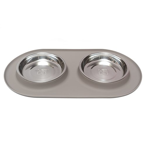 Double Cat - Messy Cats Stainless Steel Double Cat Feeder with Non-Slip Silicone Base