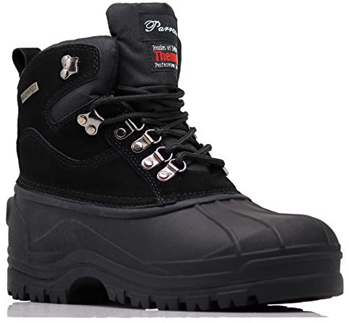 - Haye Men's Winter Heavy Duty Snow Cold Weather Thermos Rubber Sole Oxfords Boots (11 D(M) US, Black)