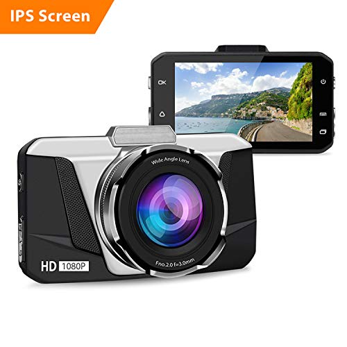 Dash Cam, 1080P HD Car DVR Dashboard Camera Recorder with 3'' IPS Screen, Night Vision, 170° Wide Angle, G-Sensor, WDR, Loop Recording and Motion Detection