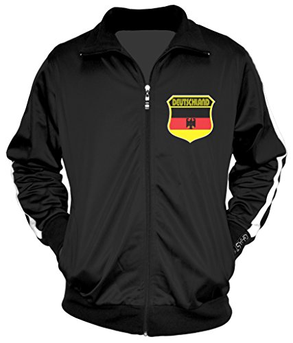 - Amdesco Men's German Pride, Deutschland Germany Track Jacket, Black w/One Stripe XS