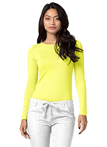 Adar Womens Comfort Long Sleeve T-Shirt Underscrub Tee - 2900 - Citron - S - Yellow Long Sleeved Shirt