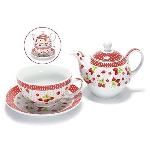 2 opinioni per Set teiera, piattino e tazza in porcellana decorata con fragole. TEIERE THE TEA