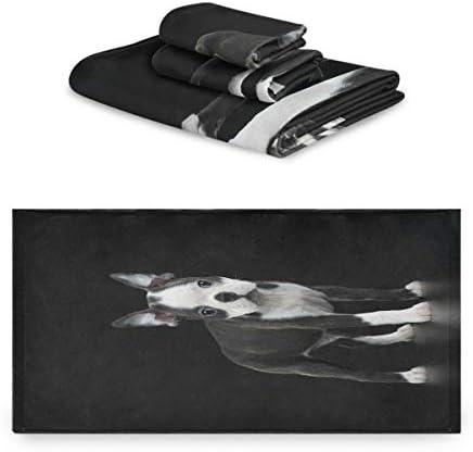 タオル バスタオル フェイスタオル ハンドタオル タオルセット 3点セット 犬 写真 黒い速乾 瞬間吸水 耐久性 肌触り抜群