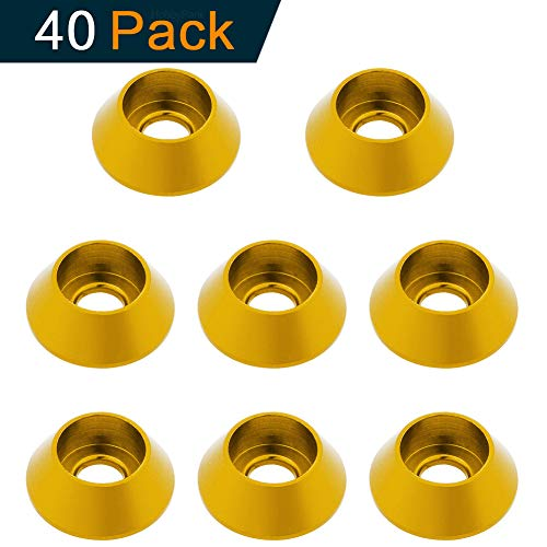 Hobbypark 40-Pack Aluminum M3 / M4 Cup Head Screws Washers Bolts Gasket Hardware RC Model Parts Anodized Colourful (Gold, M3)