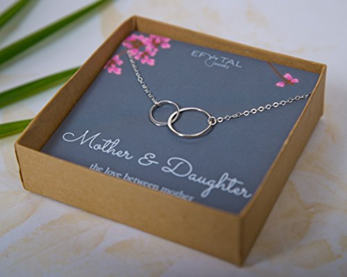 EFYTAL Mother Daughter Necklace Sterling Silver Two Interlocking Infinity Double Circles, Mothers Day Jewelry Birthday Gift