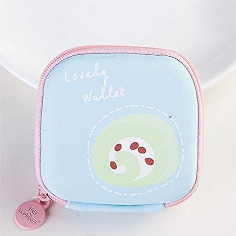 Topdo 1/pcs Mini portefeuille Fermeture /Éclair minimaliste Porte-monnaie support Poche pour monnaie Sac pochette casque Cordon Bo/îte de rangement organiseurs Bleu g/âteau Blue Cake