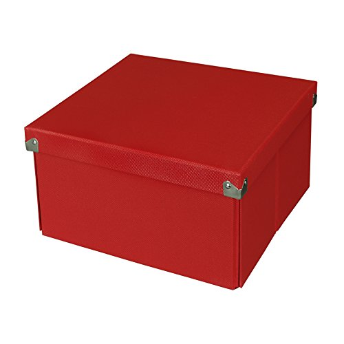 Pop n' Store Decorative Storage Box with Lid - Collapsible and Stackable- Medium Square Box- Red - Interior Size (Metal Gift Box)