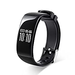 Rg Waterproof Bluetooth Fitness Tracker Smartband Bracelet Heart Rate Monitor Wristband Pedometer Step Walking Distance Calorie Counter Smart Watch For Ios Android Smartphone (Black)