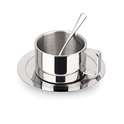 Bluelasers Stainless Steel Coffee Cup Set Espresso Cup Cappuccino Cups Coffee Mug with Spoon and Saucer