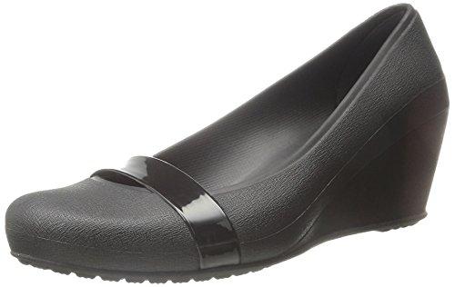 (crocs Women's Brynn Wedge W Pump, Black/Black, 5 M)
