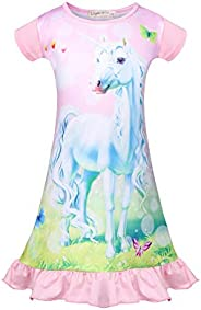 WOW Girls Unicorn Nightgowns Toddler Princess Pajamas Dress Sleepwear Nightie