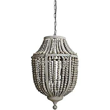Gray Aged Iron And Wooden Bead Chandelier Hanging Light