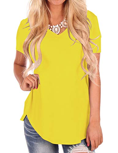 Basic Tees for Women Plain Tops Short Sleeve T Shirt Plus Size Yellow