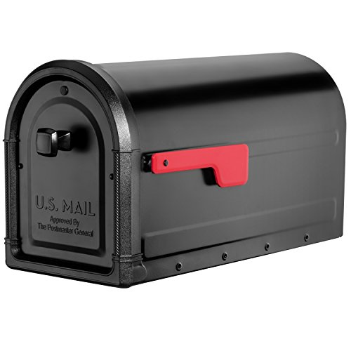 Architectural Mailboxes 7900-5B-R Roxbury Post Mount Black with Premium Cast Aluminum Knob and Red Flag Mailbox, -