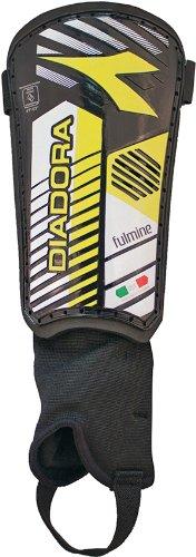 Diadora Fulmine Hard Shell Shinguards, Black/Fluo Yellow - XX-Small