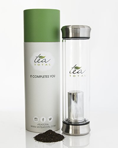 Tea Infuser Bottle | Save Time When You Brew and Carry With This All-in-One Combination Travel Mug, Single Serve Tea Pot, and Glass Water Bottle with Fruit Infuser | by TEATOTAL , 400ml (13.5 ounces)