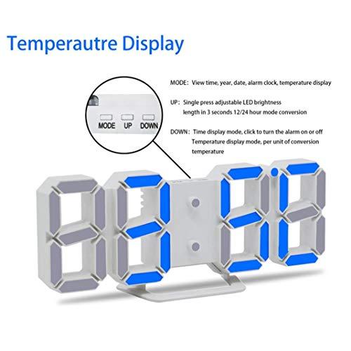 STRIR 3D Despertador Digital, LED Despertador Electrónico, Reloj Digital Moderno, Reloj de Pared, Visualización de hora 12h / 24h con Función de Alarma, ...