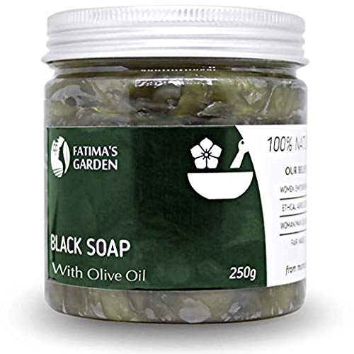 Black Soap by Fatima's Garden -Natural Soap with Olive Oil - Moroccan Soap for Exfoliating Body Wash, Hammam, Removes Dead Skin Improves Softness of Dry & Sensitive Skin 8.8oz