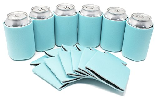 TahoeBay 12 Can Sleeves - Robins Egg Blue Beer Coolies for Cans and Bottles - Bulk Blank Drink Coolers – DIY Custom Wedding Favor, Funny Party Gift (Robins Egg Blue, 12)