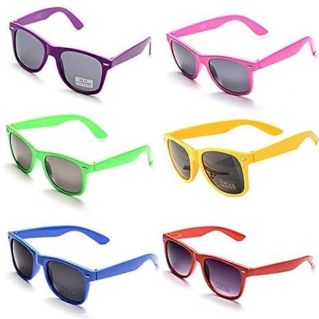 12Oro OAONNEA 12 Pares A/ños 80 Neon Gafas de Sol de Colores Fiesta Adulto