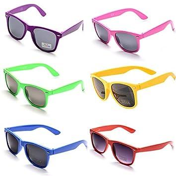 OAONNEA 6 Pares Años 80 Neon Gafas de Sol de Colores Fiesta Adulto (6