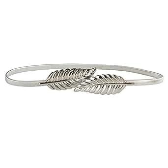 HowYouth Women's Skinny Metal Interlock Buckle Belt Elastic Stretch Chain Waistband (Silver)