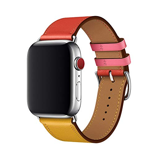 WFEAGL Compatible iWatch Band 38mm 42mm, Top Grain Leather Band Replacement Strap for iWatch Series 4/3/2/1(Amber/Red/LightRoseRed Band+Silver Adapter,38mm 40mm)