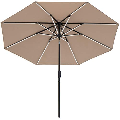 SUNBRANO Deluxe Solar Powered LED Strip Lighted Patio Umbrella, 9ft Market Table Umbrella w Tilt and Crank, 8 Ribs, Taupe