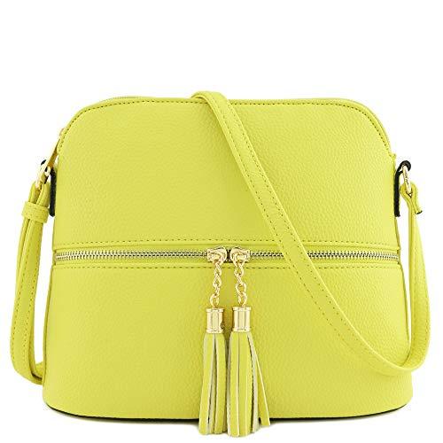 (Tassel Zipper Pocket Dome Crossbody Bag (Yellow))