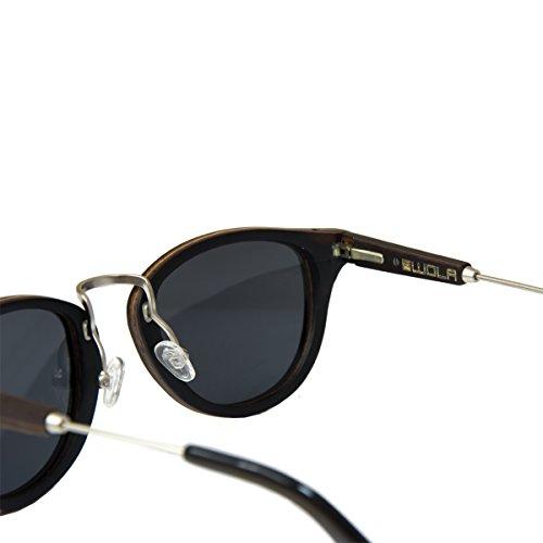 madera gafas AQUA sunglasses polarisado de WOLA y mujer hombre madera Ébano redonda UV400 en sol vZ5Yx