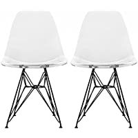 2xhome - Set of Two (2) - Clear - Eames Style Side Chair Black Eiffel Base Dining Room Chair - Lounge Chair No Arm Arms Armless Less Chairs Seats Black Wire Legs