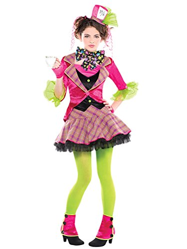 Teen Older Girls Mad Hatter 6 Piece Fancy Dress Costume Outfit World Book Day Week TV Book Film Carnival 10-16 Yrs (10-12 years)