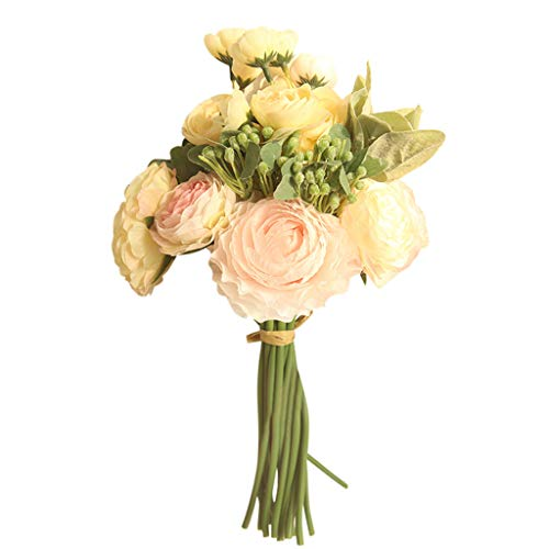 (Rose Peony Artificial Fake Flower, Elevin(TM) Multicolor Phantom Rose Peony TOP Silk Flowers Bouquet Single Decor Wedding (A))