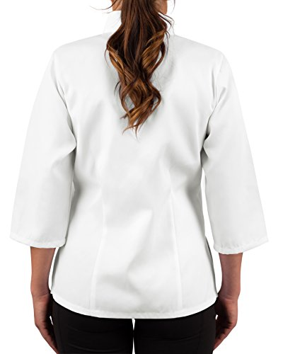 KNG Womens White Classic ¾ Sleeve Chef Coat, S by KNG (Image #1)