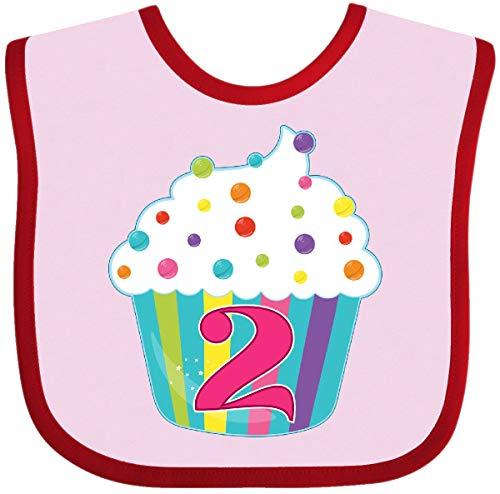 Inktastic - 2nd Birthday cupcake Baby Bib Pink and Red 285bb