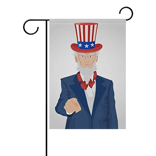 QQshiqI Uncle Sam Pointing Garden Flag Banner 12 x 18 Inch Decorative Garden Flag for Outdoor Lawn and Garden Home decoracor Double-Sided
