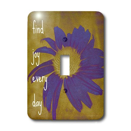 3dRose lsp_41170_1 Purple Flower Find Joy Every Day- Inspirational Quotes- Art Single Toggle Switch
