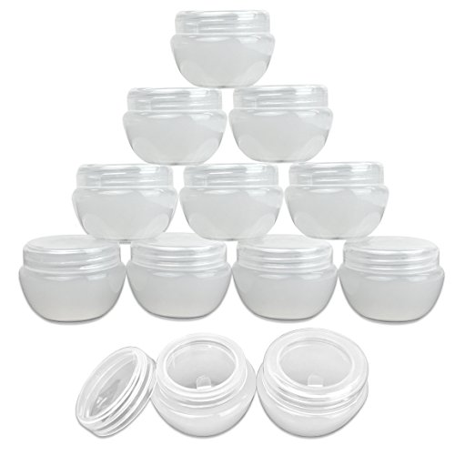 Beauticom 12 Pieces 30G/30ML (1 Oz) White Frosted Container Jars with Inner Liner for Pills, Medication, Ointments and Other Beauty and Health Aids - BPA Free