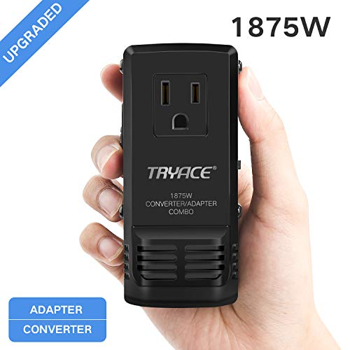 Price comparison product image TryAce 1875W Travel Adapter and Converter Combo 240V to 110V international Voltage Converter for Hair Dryer,  All in One Plug 8A Max Adapter Wall Charger for UK / AU / US / EU 150+ Countries (1875W-Upgraded)