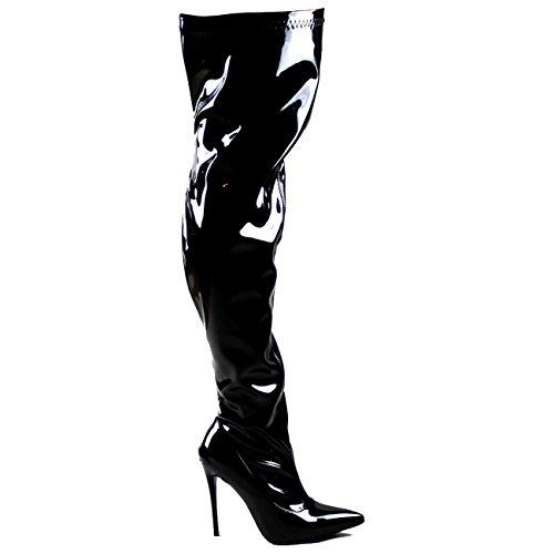 Viva Womens Fashion Oberschenkel Hohe Spitzschuh Stretch High Heel Stiletto Stiefel Schwarzer Glanz